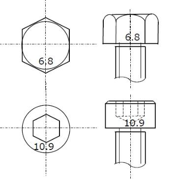 ボルト強度区分表示(上:六角ボルト、下:六角穴付きボルト)