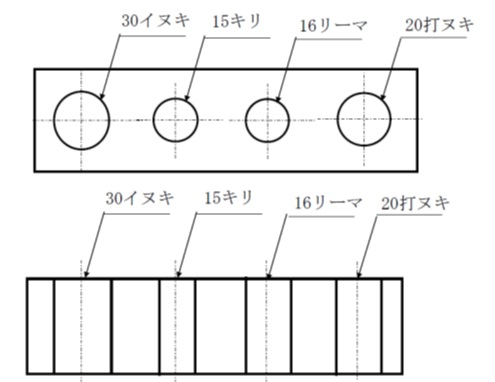 引出し線を使った穴寸法表示