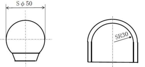 球面形状の半径
