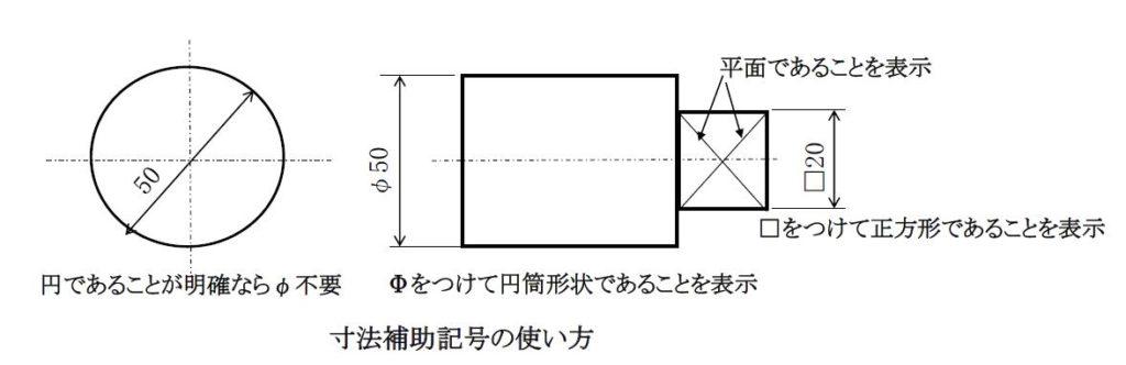 代表的な寸法補助記号1
