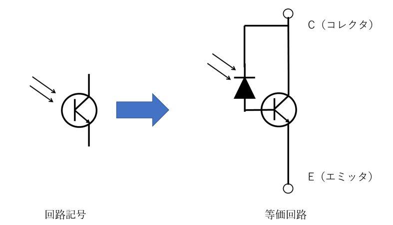 フォトトランジスタの回路記号