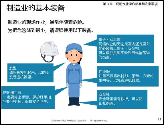 中国人作業者と工場での身だしなみ