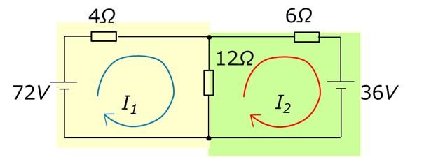 2つの閉路と電流の向き